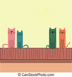 Illustration of the cat on roof.