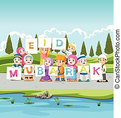the children are holding the ied mubarak board near the river