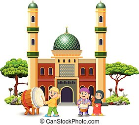 the children are playing with their music tool in front of the mosque
