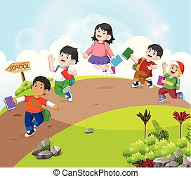 the children are walking on the road go to school