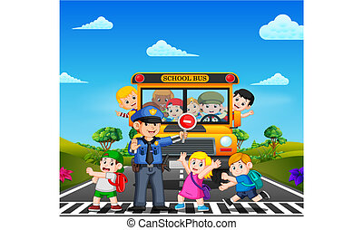 the children cross the road while the police stop the school bus and the children waving