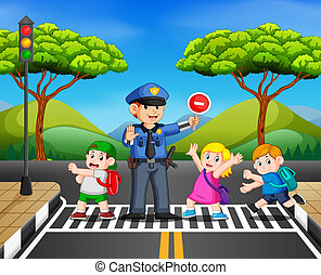 the children cross the road while the police stop the transportation