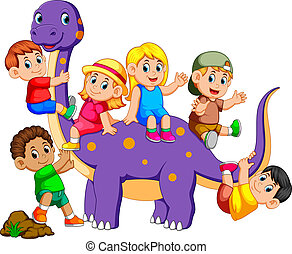 the children get into the brontosaurus and playing on his...