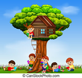 the children playing and reading the book in the garden on the tree house