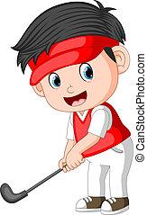 The Children profesional Golfer Ilustration