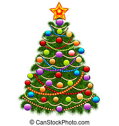 of the Christmas tree decorated with balls and beads -...