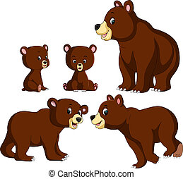 the collection of the bear and baby bear with different posing