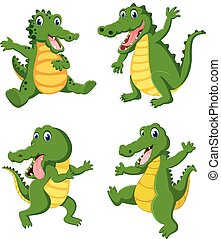 the collection of the big crocodilies in the different posing