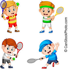 the collection of the boy action doing the tennis field with the good posing