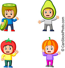 the collection of the cute boys using the cute fruits costume with different colour