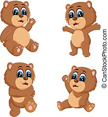 the collection of the funny baby bear with the different posing
