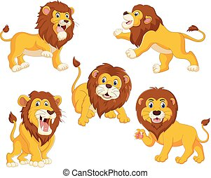the collection of the lions with different posing