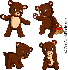 the collection of the little bear carry the basket of apple