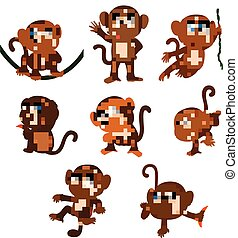 the collection of the monkey playing on the green rope with...
