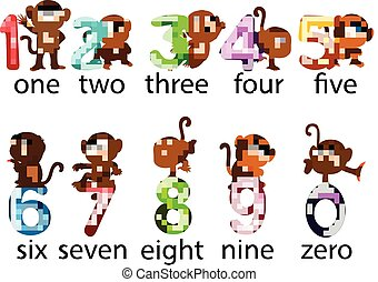 illustration of the collection of the number with the monkey beside with the different posing
