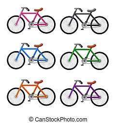 bicycles icon set