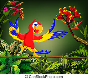 the cute parrot sings the song in the forest