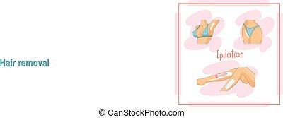 Illustration of the depilate body parts, bikini area, legs, armp