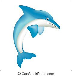 Illustration of the dolphin - Nice dolphin on white ...