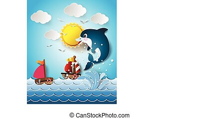 Illustration of the dolphins in sea on the sunlight.