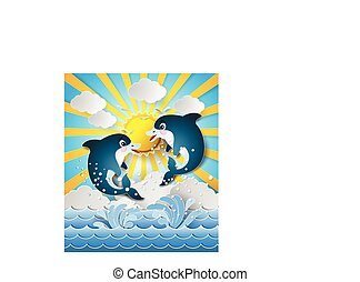 Illustration of the dolphins in sea on the sunset