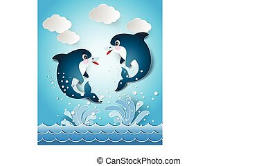 Illustration of the dolphins in seascape cut style.
