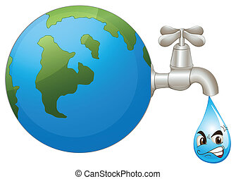 the earth and a water drop - illustration of the earth and a...