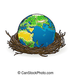 Vector illustration of a small model of earth in a bird's nest. Concept image of global market, investment, bright successful future, globalization, ecology, green technology for new generation