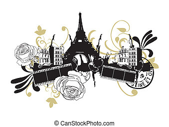 Eiffel Tower - Illustration of the Eiffel Tower and...