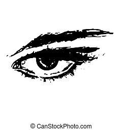 Illustration of the eye on white background