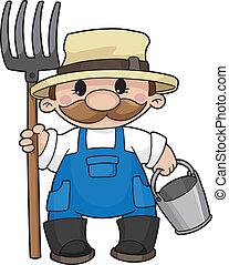 Illustration of the farmer with a pitchfork and a bucket