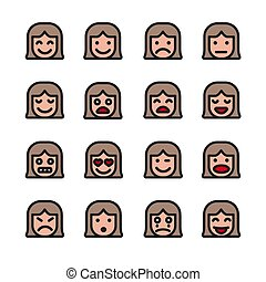 female emoticons set