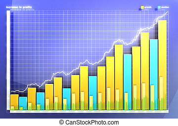 illustration of the financial graph on a blue background