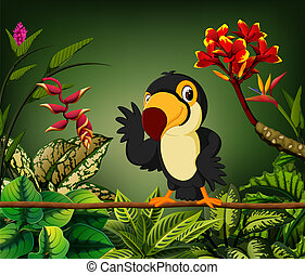 the gentle toucan perch on the stalk with the happy face