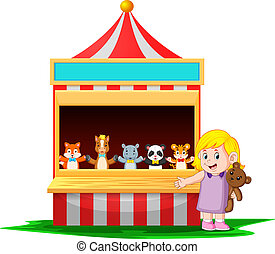 the girl at the carnival with the teddy bear is very funny