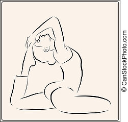illustration of the  girl doing yoga exercise