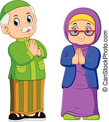 illustration of the grandmother and grandfather are the greeting forgiveness of ied mubarak