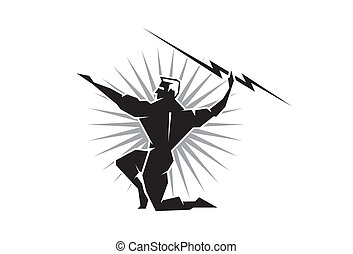 Greek God Zeus - Illustration of the Greek God Zeus throwing...