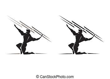 Illustration of the Greek God Zeus throwing a bolt of lightning