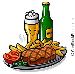 beef steak and beer