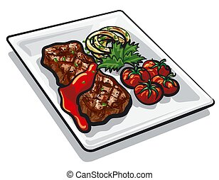 grilled beef steak - illustration of the grilled beef steak ...