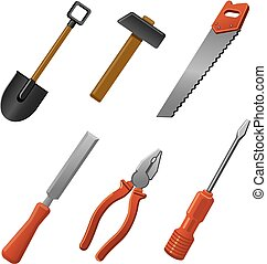 hand tools for work - illustration of the hand tools for ...