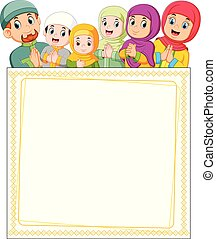 the happy family is giving the greeting of ied mubarak on the top of blank poster