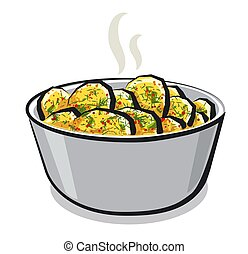 illustration of the hot boiled potato with a dill in the bowl