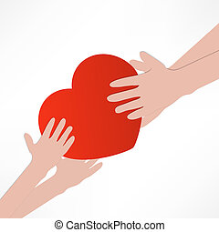 illustration of the human heart rescue people.