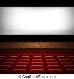 illustration of the interior of a cinema movie theatre with red for your design