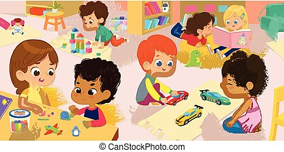 Illustration of the kindergarten class and children's activity in the kindergarten. Multicultural Kids reading books, playing with wooden blocks and toy cars, sculpt clay figures.