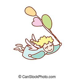 illustration of the little angel flying with balloons on a white background