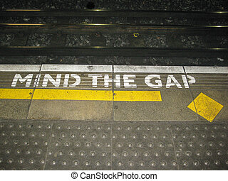 Illustration of the London underground Mind The Gap typical...