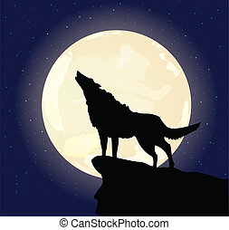 Illustration of the lonely wolf howling on the full moon